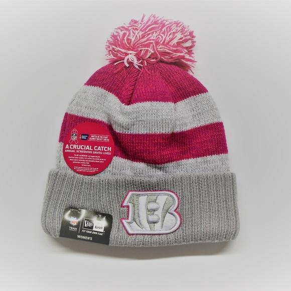 New Era Bengals Nfl Pink Breast Cancer Knit Hat  4fd0db307a1a
